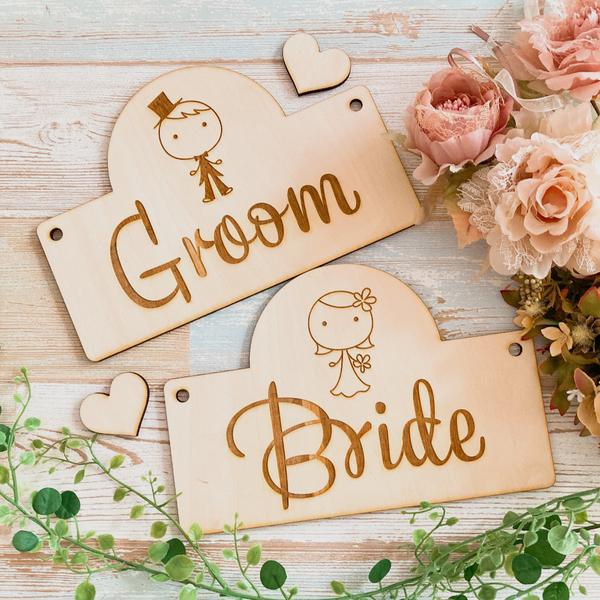 チェアサイン 木製 Groom Bride