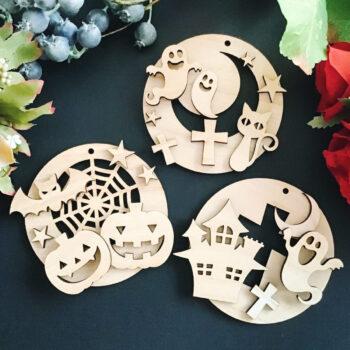 ハロウィンオーナメント 木製 手作りキット -おうち時間を楽しむ工作キット-