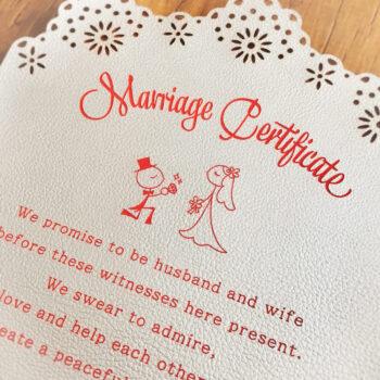 革の結婚証明書 -新作☆華やかで可愛い!珍しい革の結婚証明書-