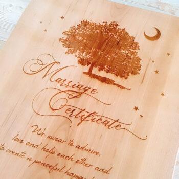 製作例:木の結婚証明書 お客様のデザインアレンジいろいろ